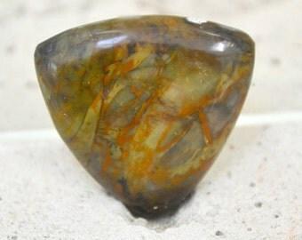 morrisonite jasper trillion cabochon. 21.5 x 21.5 dark greens and orange