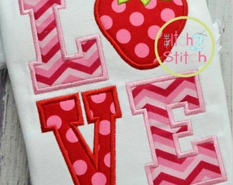 Love Strawberry - Appliqued and Personalized
