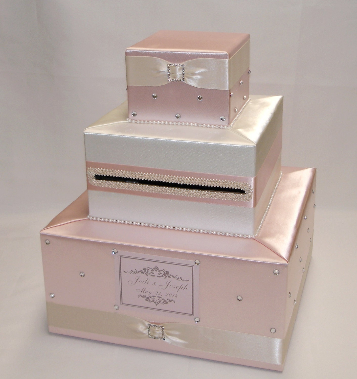 Elegant Custom Made Wedding Card Box-Blush pink-Ivoryany