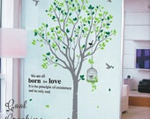 Large Spring Tree with 2 colors leaves -82 Inches tall -Vinyl Wall Decal Sticker Art,Wall Hanging, Mural