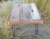 25% OFF Sale - Coffee Table - Modern Industrial Reclaimed Rustic Wood Coffee or Side Table with Vintage Eames Style Steel Hairpin Legs