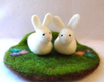 Easter centerpiece - Ostara centerpiece - needle felted bunnies - Easter bunny decoration - rabbit decoration - table puppets made to order