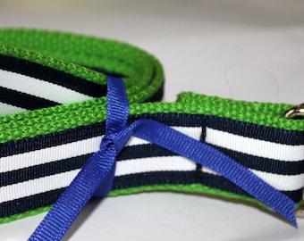 "Navy and White Belt Striped Ribbon Preppy Adult Belt 1.25"" Wide Lime Green Me'ns Belt Nautical Men's Belt Menswear Boating Belt"