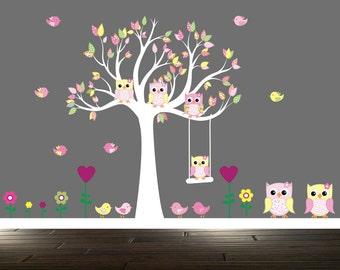 Girls Owl Wall Decal, Nursery Tree decals, vinyl wall art, Tree wall stickers