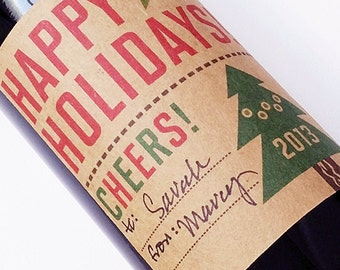 2014 Holiday Wine Label or Christmas Label with Fill in Space for your Message, Set of 12