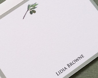Olive Branch  Stationery with Border,  Set of 15