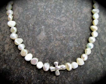 """Pearl Sideways Cross Necklace Religious Jewelry Christian Jewelry Contemporary pearl necklace 16"""""""