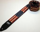 STARS & STRIPES handmade double padded guitar strap - America - Patriotic - American Flag