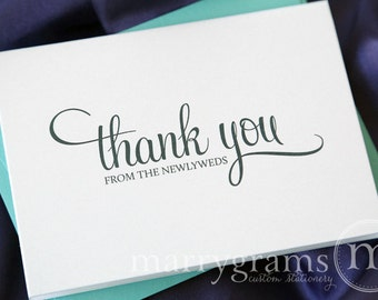 Thank You Cards from the Newlyweds... Wedding Thank You Cards - Thank You Notes from the Bride and Groom (Set of 10)