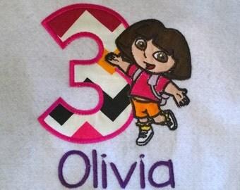 Dora the Explorer Birthday Shirt, Embroidered Dora, Personalized Dora, Monogrammed Dora the Explorer