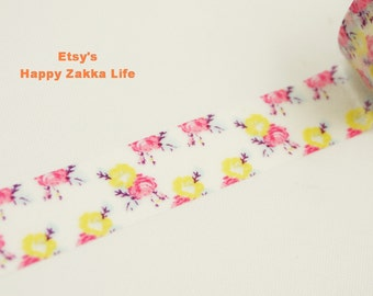 Japanese Washi Masking Tape - Pink and Yellow Flowers - 8.5 yards