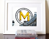 Paris City Photography - Yellow and Gray - Subway Sign: M is For Metro Fine Art French Photography Print