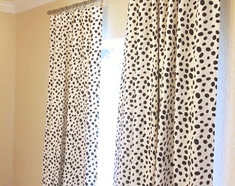Black Dalmatian Spots Curtain Panels. 25 or 50 Inch Widths. 63, 84, 96, 108, 120 Lengths. Black Dots Window Treatments. Drapery Curtains.