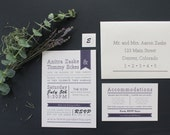 Rustic Purple Wedding Invitation Set, Printable Wedding Invitation Set