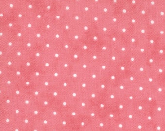 Pink and White Small Polka Dot Patterned Fabric - Essential Dots by Moda 1/2 Yard