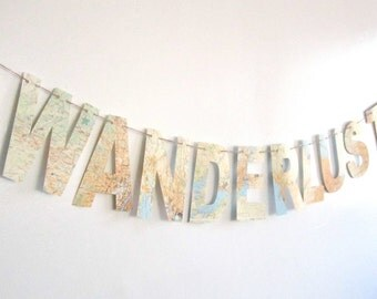 Wanderlust, Travel Theme,Map Banner, Bon Voyage Party, Map Theme, Custom Banner, Nursery Banner,  Vintage Maps, Banner, Travel,Maps
