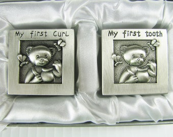 Baby Gift Custom Engraved Personalized Pewter Finish First Tooth and First Curl Keepsake Boxes  -  Hand Engraved