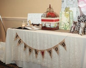 Thank you burlap banner bunting with red glittered heart- wedding garland- photography prop