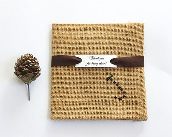 Burlap pocket square, Personalized groomsmen gift, Rustic wedding, Barnyard wedding Country chic Monogrammed gift Groom gift, Summer wedding