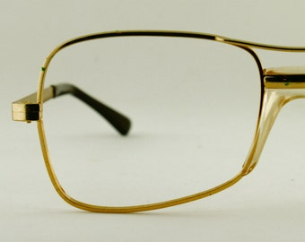 Vintage Mens Gold Aviator Eyeglass COTTET Frames France Eyewear New Old Stock