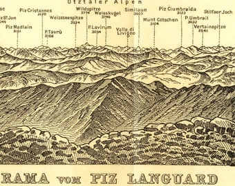 1899 Vintage Print Panorama of the Piz Launguard Mountain,  Swiss Alps Map, Antique Landscape Drawing, Baedeker