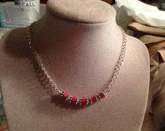 Red Necklace - Silver Jewelry - Wood Jewellery - Fashion - Children - Bead Bar - Chain