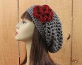 Slouchy Beanie with Flower Crochet Gray Hat Gray  Gray Slouch Hat Slouchy Cap Gray Slouch Beret with Flower Gray slouchy Tam crochet Cap