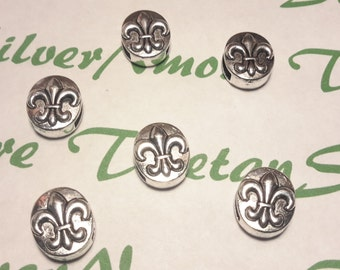 6 pcs per pack 15x12.5mm Fleur de Lis Slide left to right drilled Antique Silver Finish Lead Free Pewter