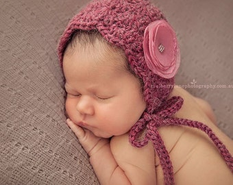 PDF Crochet Pattern - newborn photography prop mulberry alpaca bonnet #1