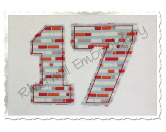Raggy Edge College Varsity Applique Numbers Machine Embroidery Design - 6 Sizes