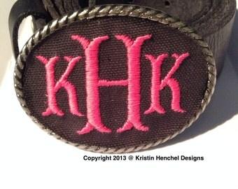Kristin Henchel monogram belt buckle new smaller size buckle. Choose from several fabrics