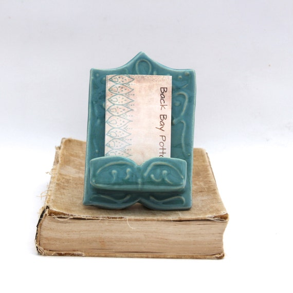 Vertical Business Card Holder - OOAK Handmade Ceramic - Robins Egg Blue - Shabby Chic Cottage - Ready to Ship
