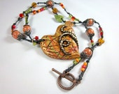 Story of Autumn, Heart Necklace, Polymer Clay, Boho, Orange, Green, Rust, Knotted Cord, Boho Necklace