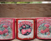 Vintage can, candle holder, flower vase, wedding centerpieces, vintage decor, shabby chic tin can, red, pink, fruit can