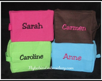 Set of 4 Personalized Cosmetic Bags ~ Personalized Waffle Weave Toiletry Bags ~ Quick shipping