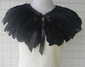 Double-layer Ladies' Black rooster coque feather shawl Sleeve Cape Shrug