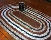 "crochet rag rug oval ""Coffee Break"" (22"" x 37"")"