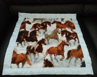 Wild Horses Fleece Security Blanket 22x22 Personalized