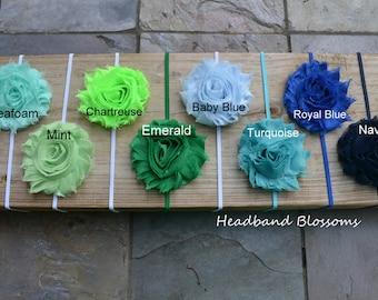 U Pick Colors - Shabby Frayed Chiffon Flower on Skinny Elastic Headband - Newborn Baby Girl- Seafoam Neon Emerald Turquoise Royal Navy Green