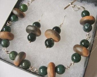 Ceramic Pottery Smoke Fired Bracelet and Earring Set, Woodland Jewellery, Moss Agate, Gemstone Jewelry, Beaded Jewelry, Artisan Jewellery