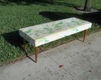 MOD SQUAT -  Mid Century Danish Modern Upholstered Bench / Pegged Legs / Milo Baughman Style