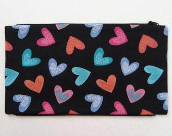 Hearts Panel to Zip Onto Messenger Bag / Shoulder Bag / Tote Bag