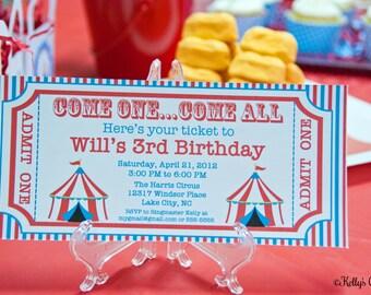 Circus Ticket Invitation- Custom, Printable Digital Birthday Invitation