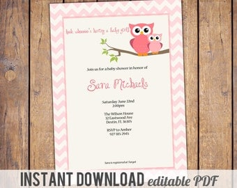 owl baby shower invitations, pink chevron baby shower invite with owls, pink, brown, Digital, Printable file, instant download, editable PDF