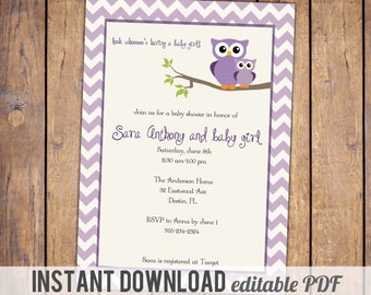 owl baby shower invitations, purple chevron baby shower invitation with owls, purple, Digital, Printable file,instant download, editable PDF