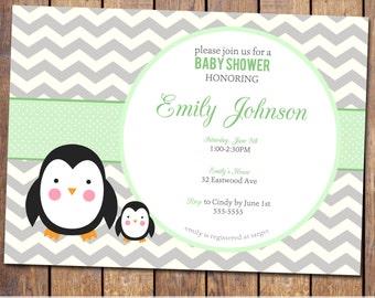 Chevron Baby Shower Invitation penguin Baby Shower Invitation gender neutral green and grey baby shower Invites (item111e)