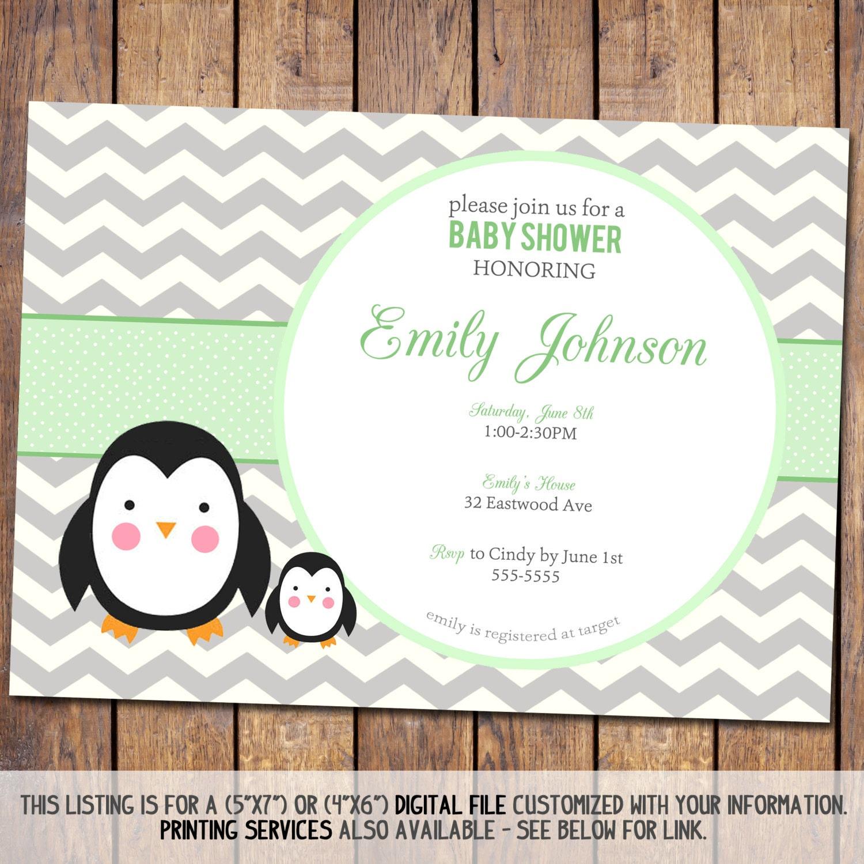 chevron baby shower invitation penguin baby by joypribishdesigns