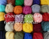 Wool roving color assortment, needle felting, pick your own colors of roving, over 40 colors to choose from, 12 colors 1/2 each for 6 ounces