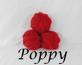 Wool roving in Poppy1 ounce wool roving for needle felting, wet felting, spinning, 1 oz wool roving sampler, dyed wool sampler