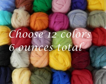 Wool roving color assortment, needle felting, pick your own colors of roving, over 50 colors to choose from, 12 colors 1/2 each for 6 ounces